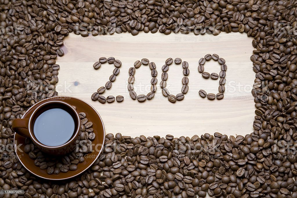 New year 2009 coffee beans royalty-free stock photo