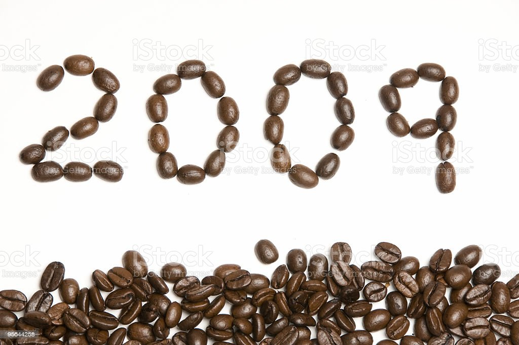New year 2009 with Coffee Beans stock photo