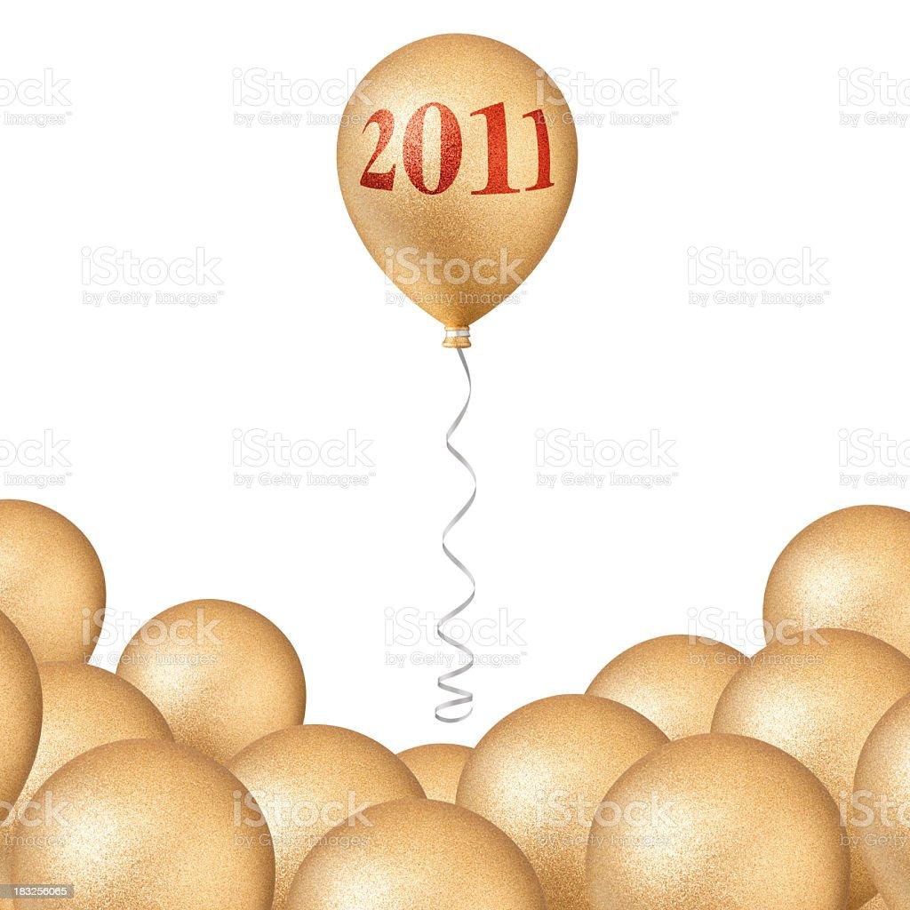 New year 2011. Golden balloons. stock photo