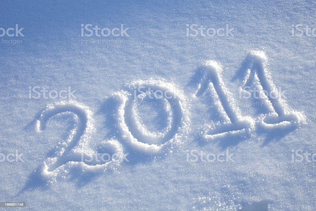 New year 2011 in the snow royalty-free stock photo