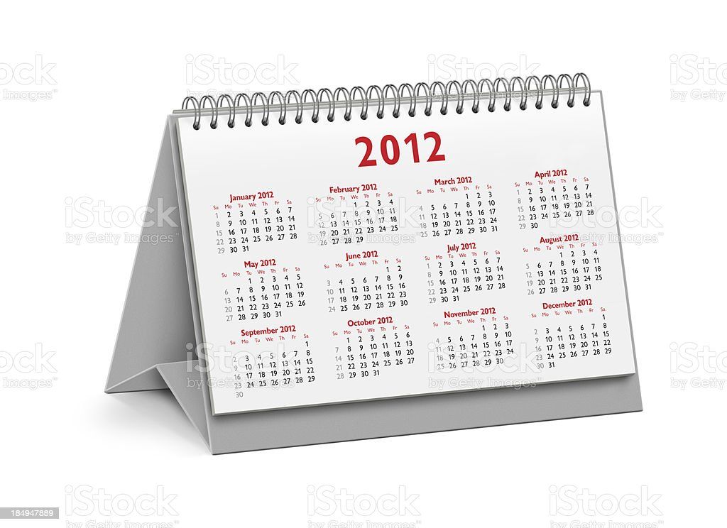New Year 2012 Desktop Calendar royalty-free stock photo