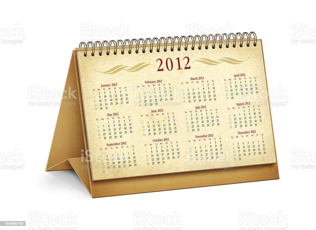 New Year 2012 Desktop Calendar stock photo