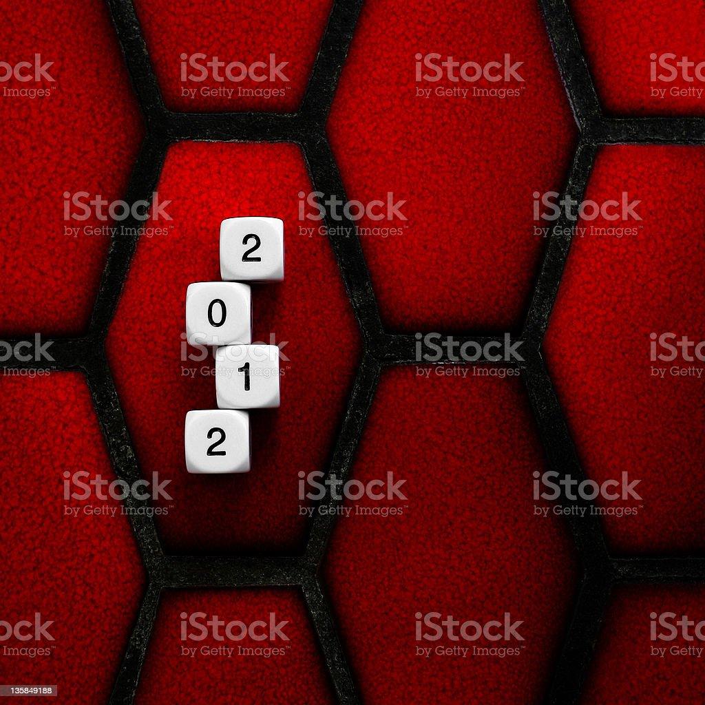 Novo ano 2012 dados no balcão vermelho foto royalty-free