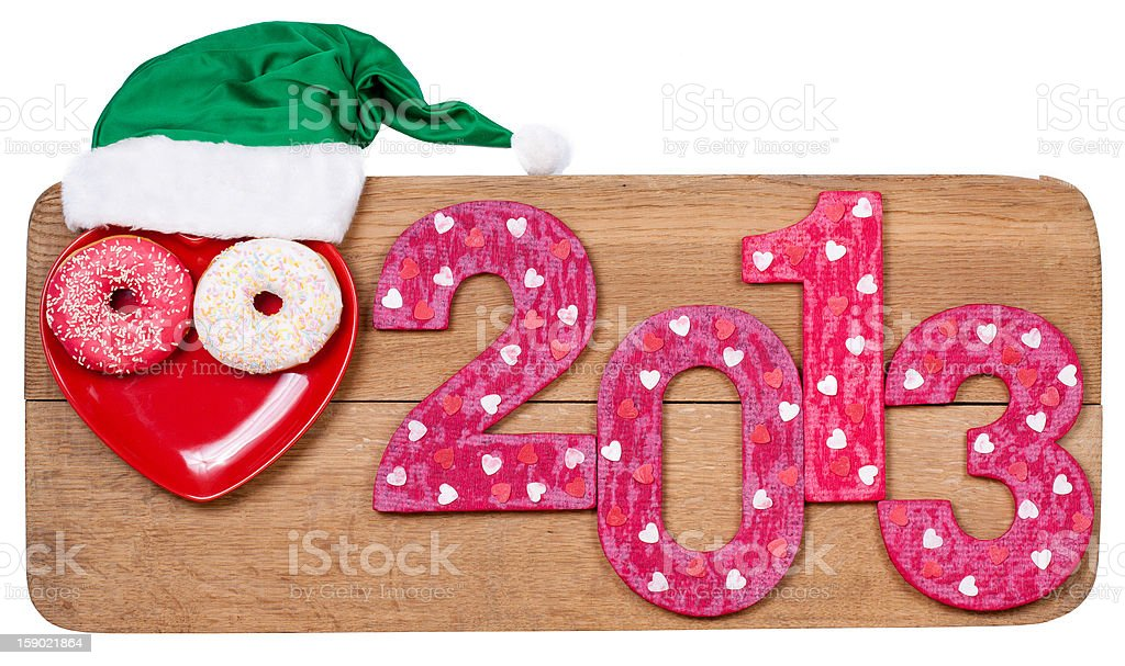 New Year 2013 date, wooden board isolated on white background royalty-free stock photo