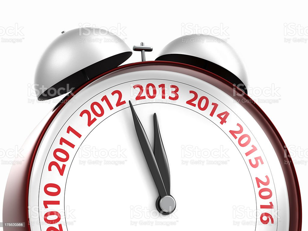 new year 2013 red alarm clock close up royalty-free stock photo
