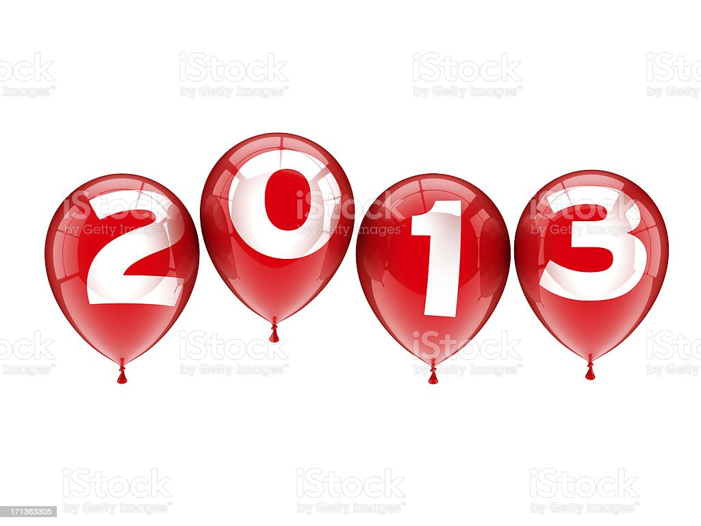 New Year 2013 Red Balloons royalty-free stock photo