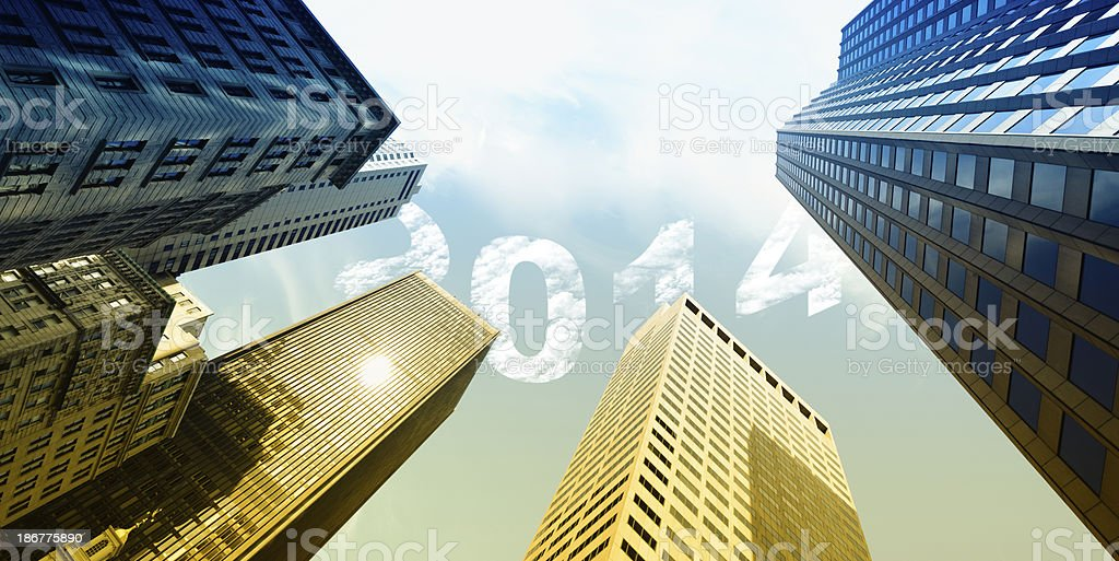 New year 2014 0ver Buildings royalty-free stock photo