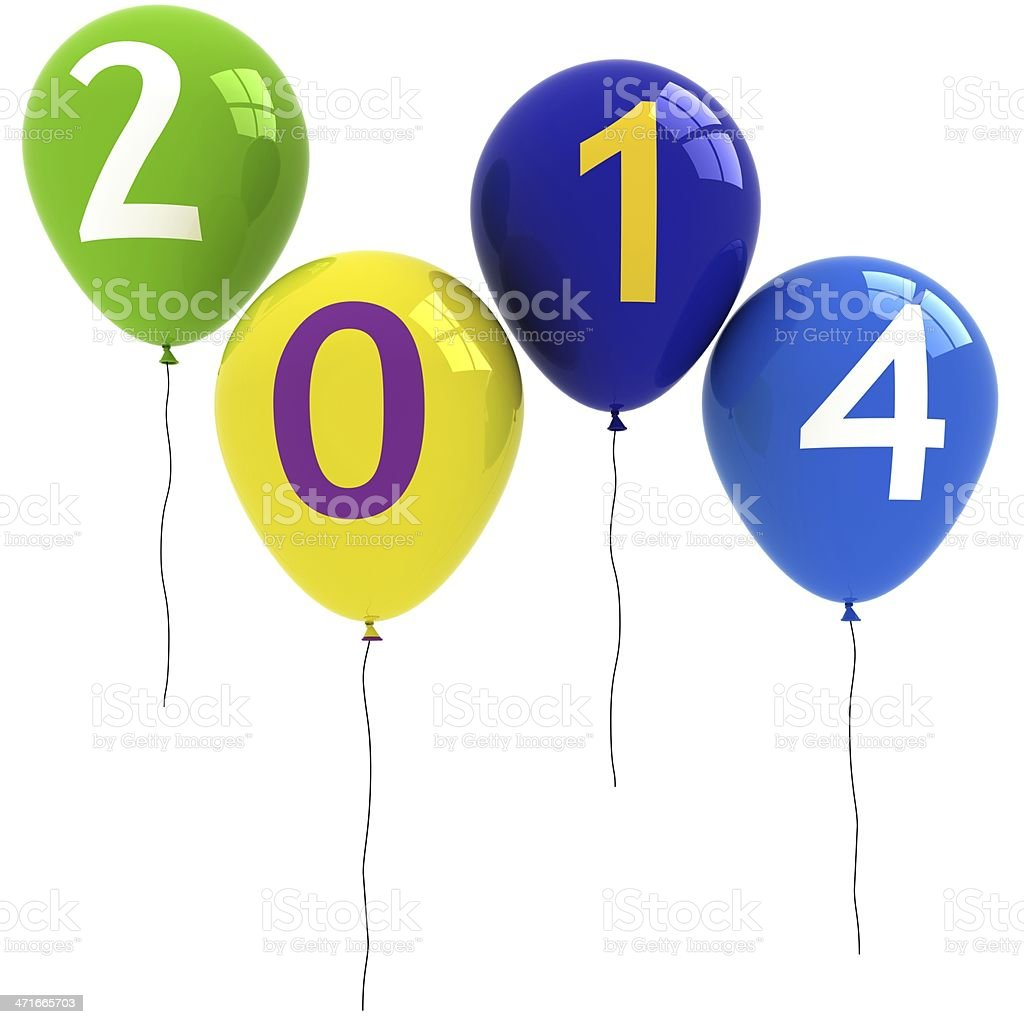 New Year 2014 Balloons royalty-free stock photo