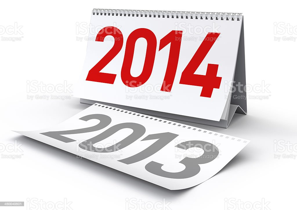 New Year 2014 Calendar stock photo