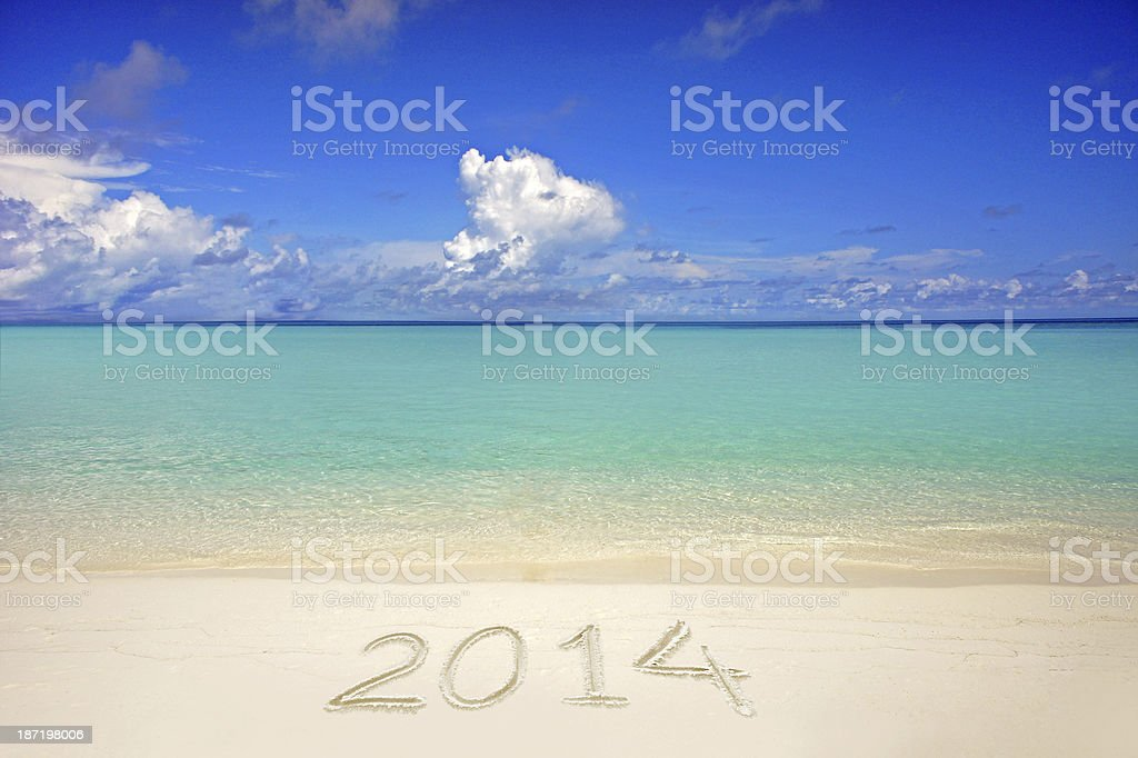 New year 2014 Maldives beach royalty-free stock photo