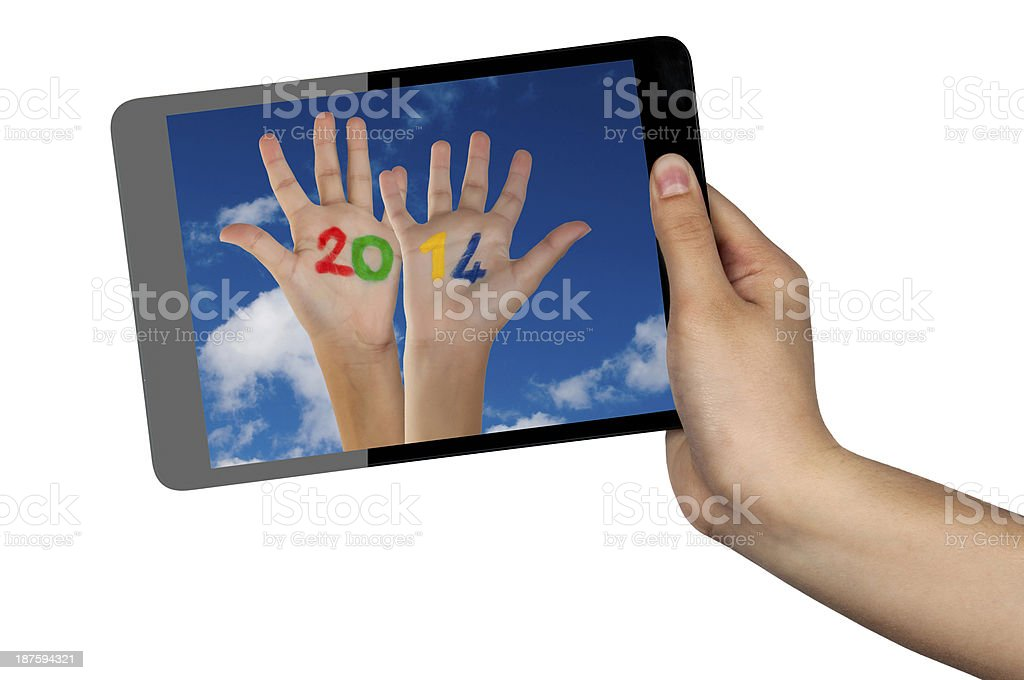 New year 2014 on tablet royalty-free stock photo