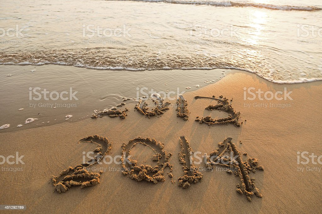 New year 2014 on the beach stock photo
