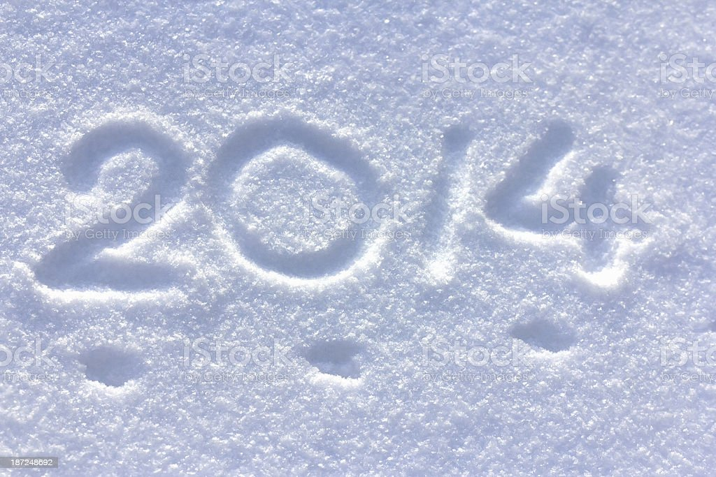 New year 2014 on the snow royalty-free stock photo