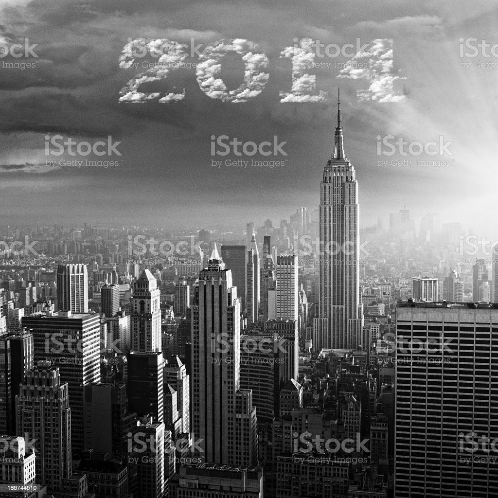 New Year 2014 over Manhattan royalty-free stock photo