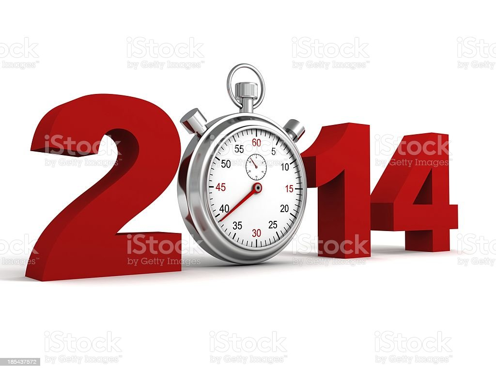 new year 2014 red text numbers with sports watch royalty-free stock photo