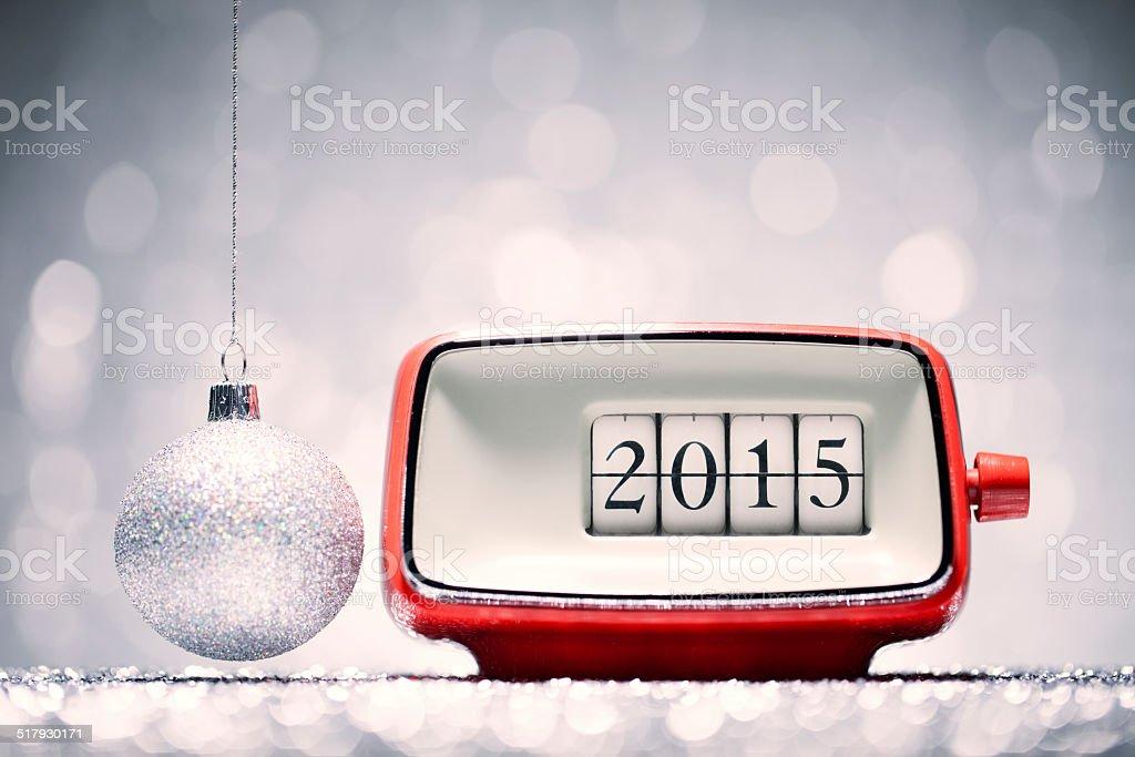 New Year 2015 - Alarm Clock Celebration Retro Defocused Red stock photo