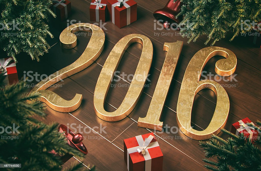 New year 2016 concept stock photo