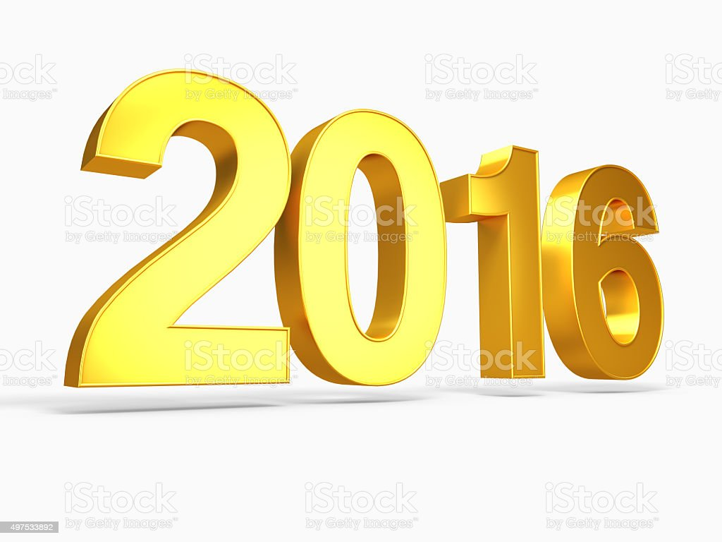 New Year 2016 Gold render stock photo