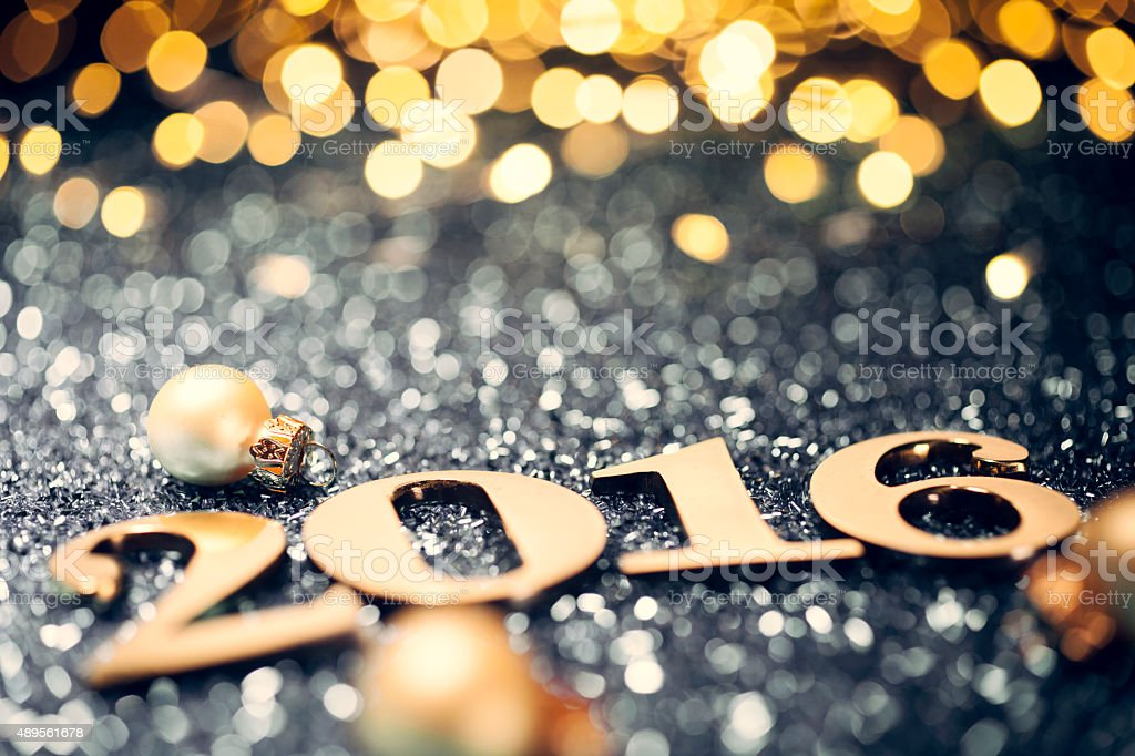 New Year 2016 - Gold Text Party Celebration stock photo