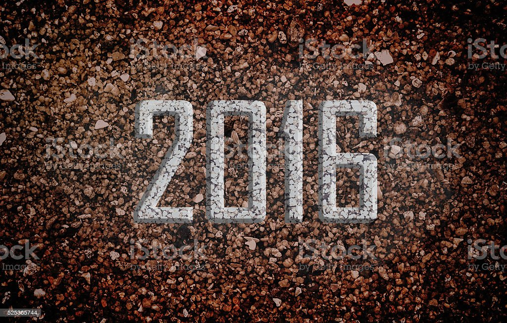 New year 2016 with Blue Pebble Stones. stock photo