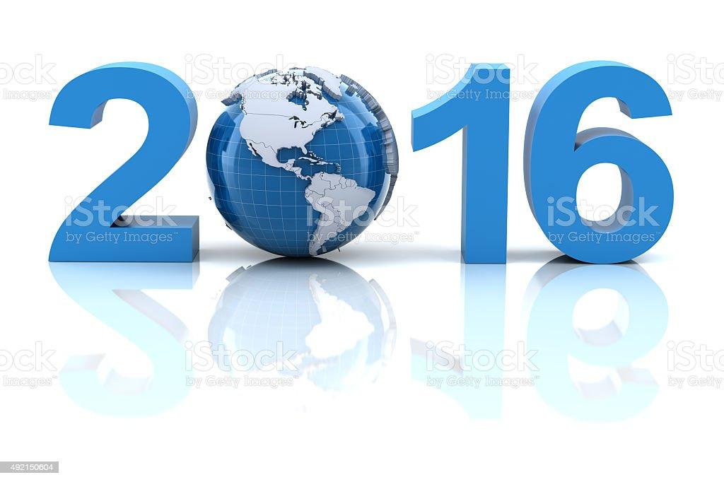 New year 2016 with globe stock photo