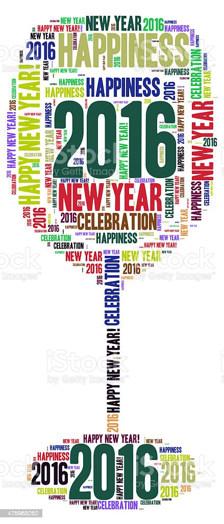New Year - 2016 - word cloud stock photo
