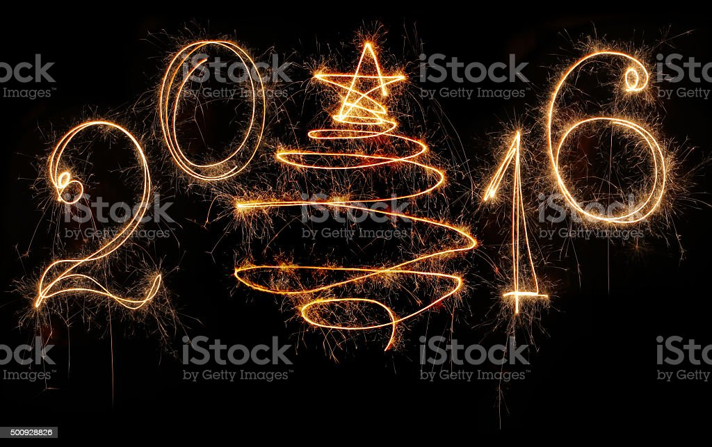 New Year 2016 Written with a Sparkler stock photo