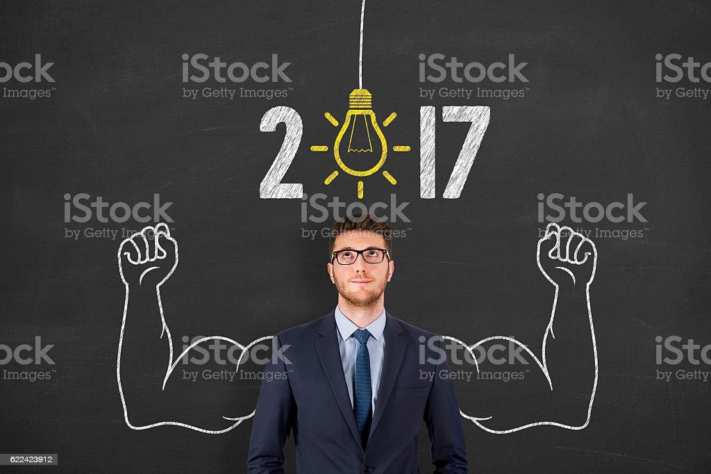New Year 2017 Big Idea on Chalkboard Background stock photo