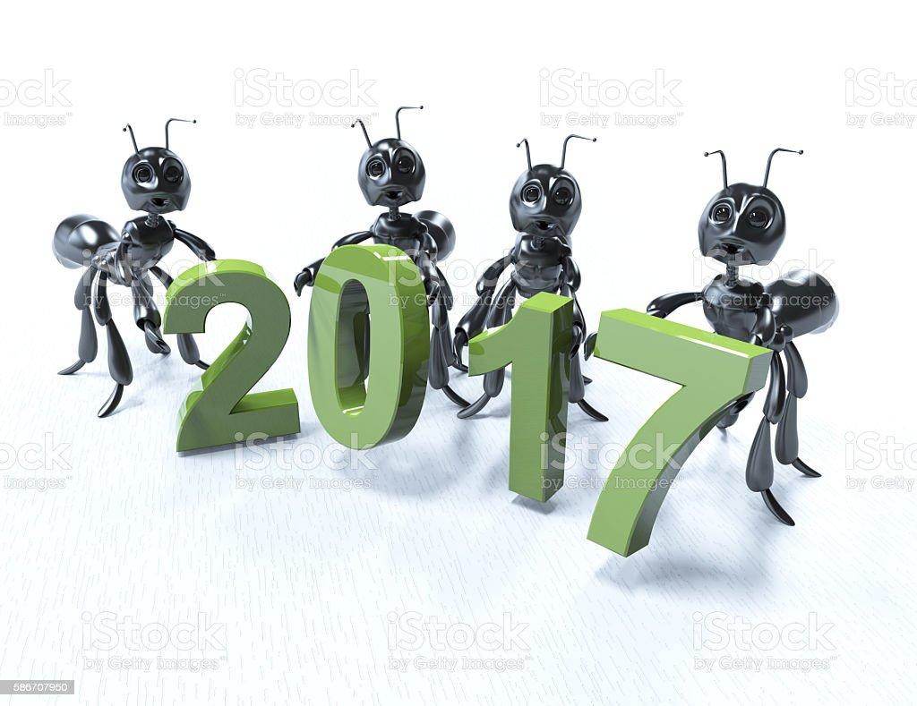 New year 2017 -Black ants stock photo