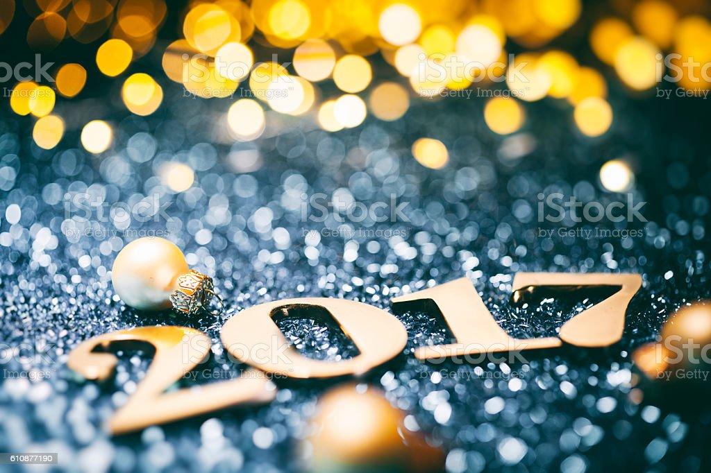 New Year 2017 - Christmas Decoration Gold Blue Party Celebration stock photo