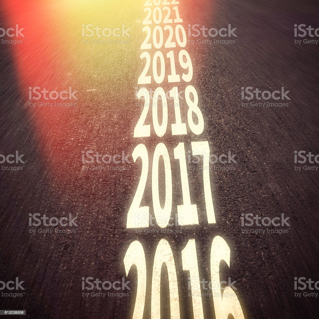 New year 2017 concept with ahead road stock photo