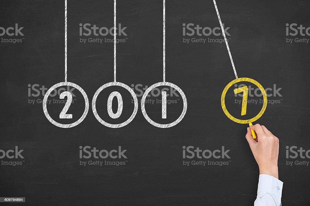 New Year 2017 Energy Concept on Blackboard Background stock photo