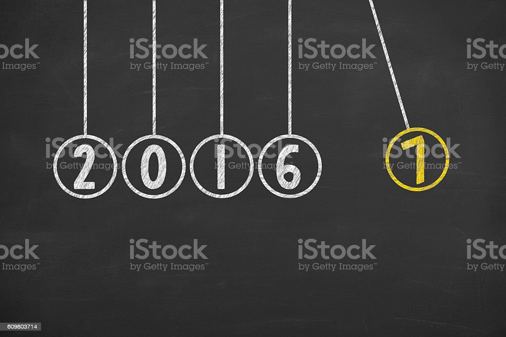 New Year 2017 Energy Concept on Chalkboard Background stock photo