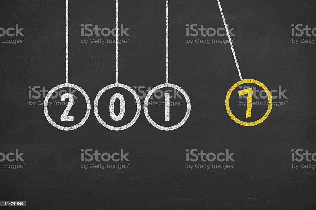 New Year 2017 Energy Concept on Chalkboard stock photo