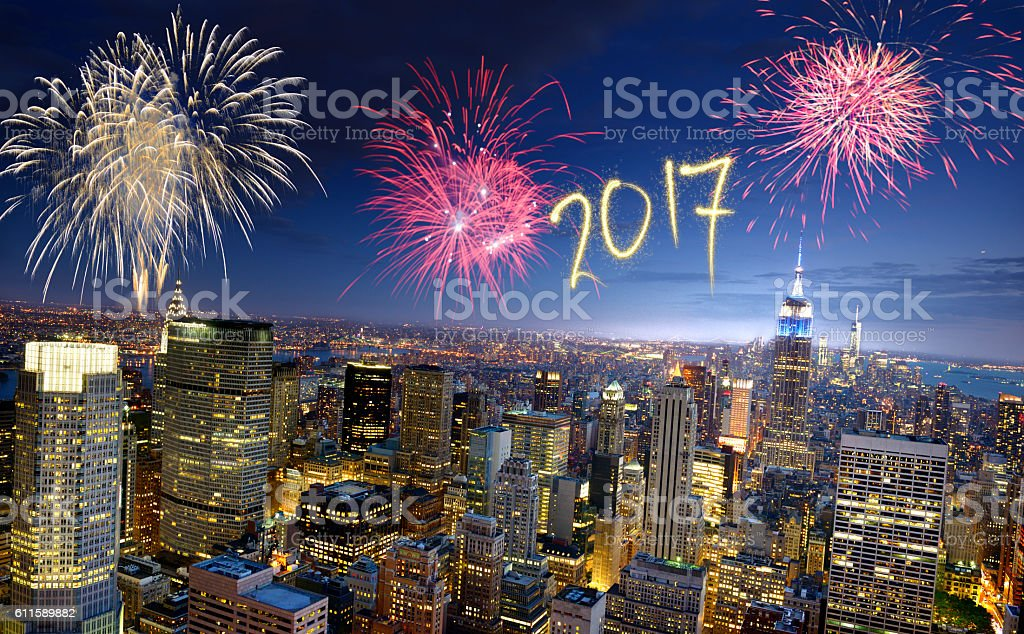 New Year 2017 fireworks in Manhattan stock photo