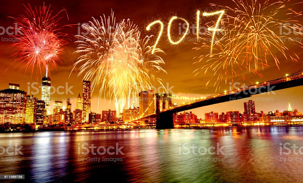New Year 2017 fireworks over Lower Manhattan stock photo