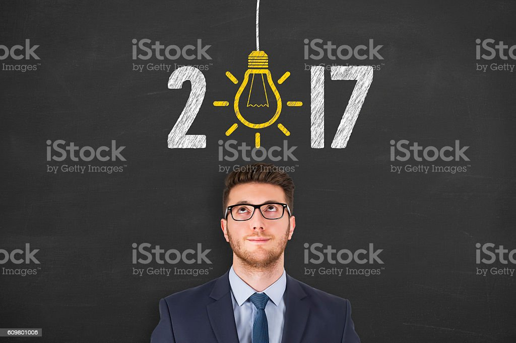 New Year 2017 Idea over Human Head stock photo
