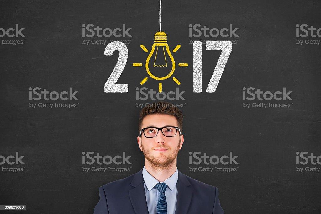 New Year 2017 Idea over Human Head stock photo
