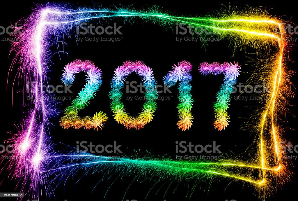 New Year 2017 in a sparkling frame (multi colored) stock photo