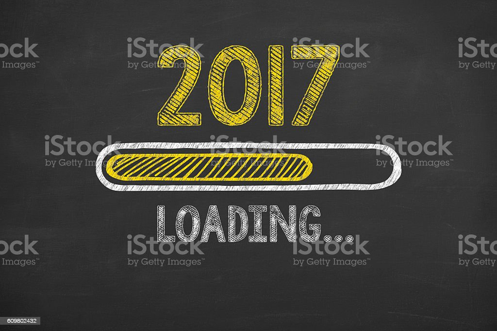 New Year 2017 Loading on Chalkboard stock photo