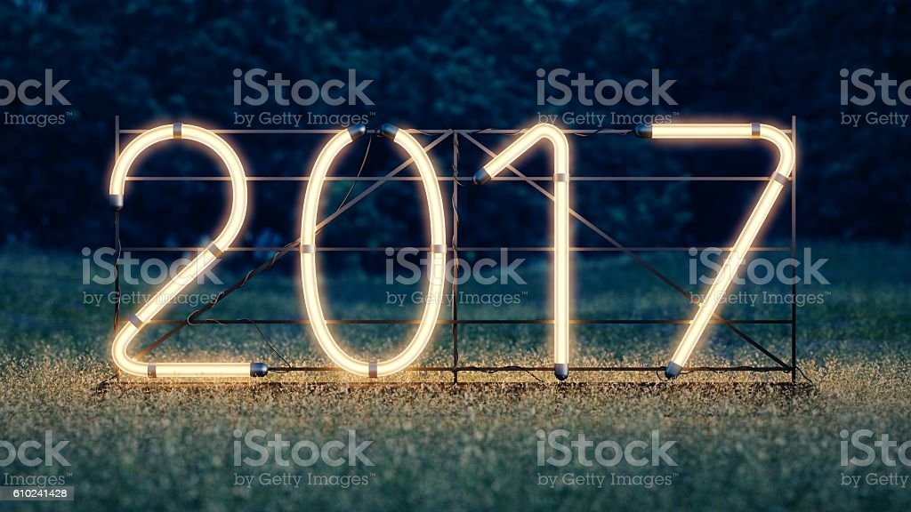 New year. 2017 neon sign stock photo
