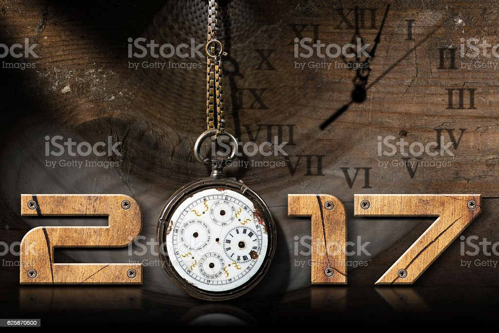 New Year 2017 - Old Broken Pocket Watch stock photo