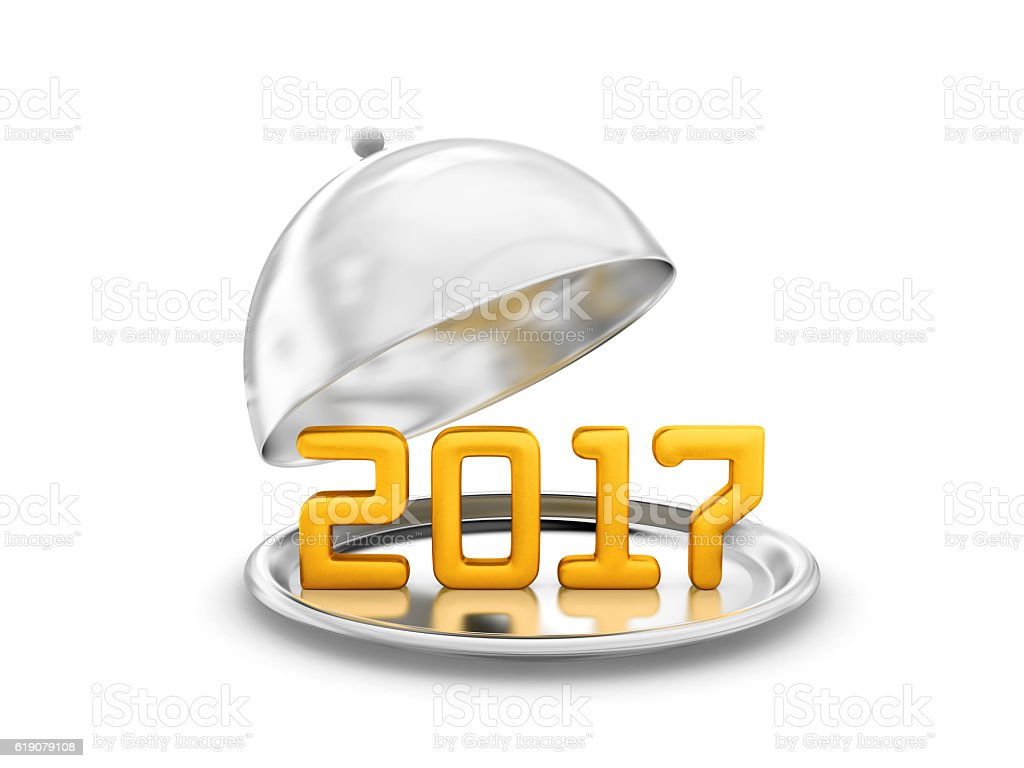 New Year 2017 on silver salver stock photo