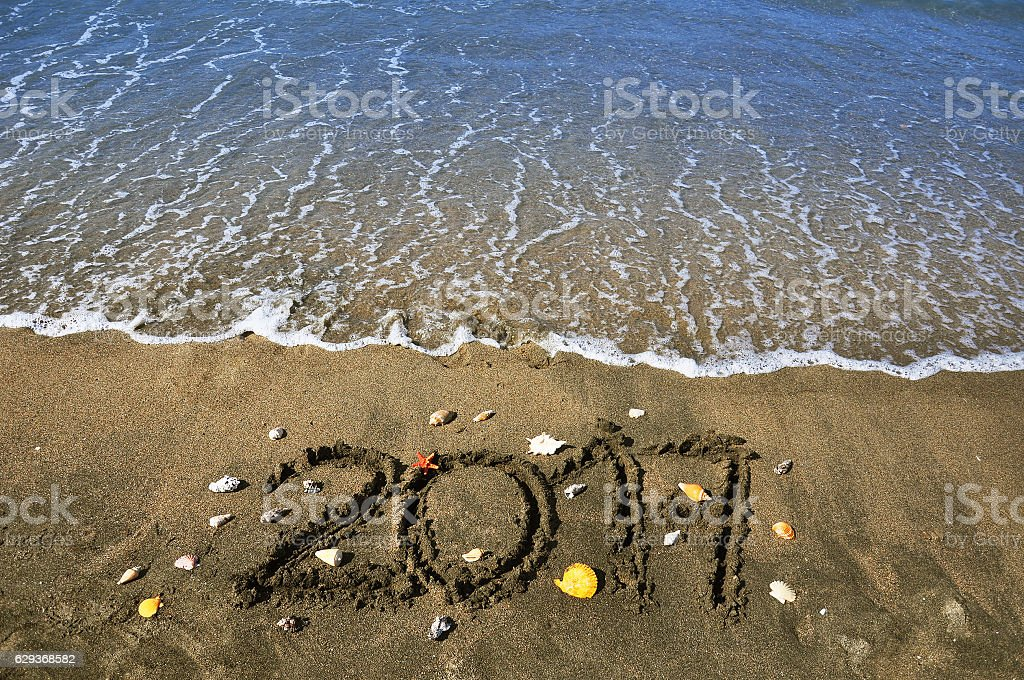 New Year 2017 on the beach stock photo