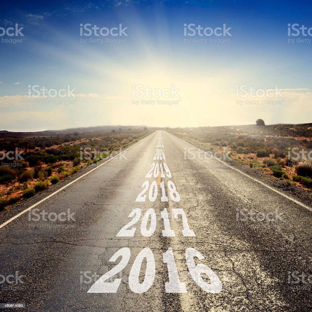 New Year 2017 on the Road stock photo