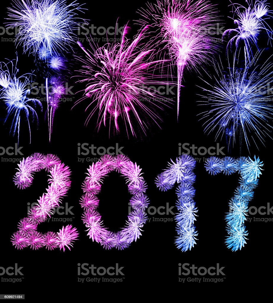 New Year 2017 (fireworks compilation) stock photo