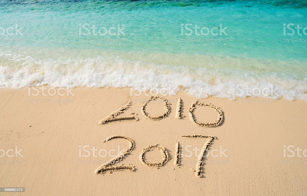 New Year 2017 replace 2016 stock photo