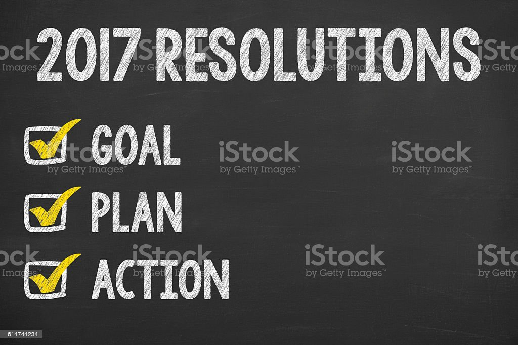 New Year 2017 Resolution Check List stock photo