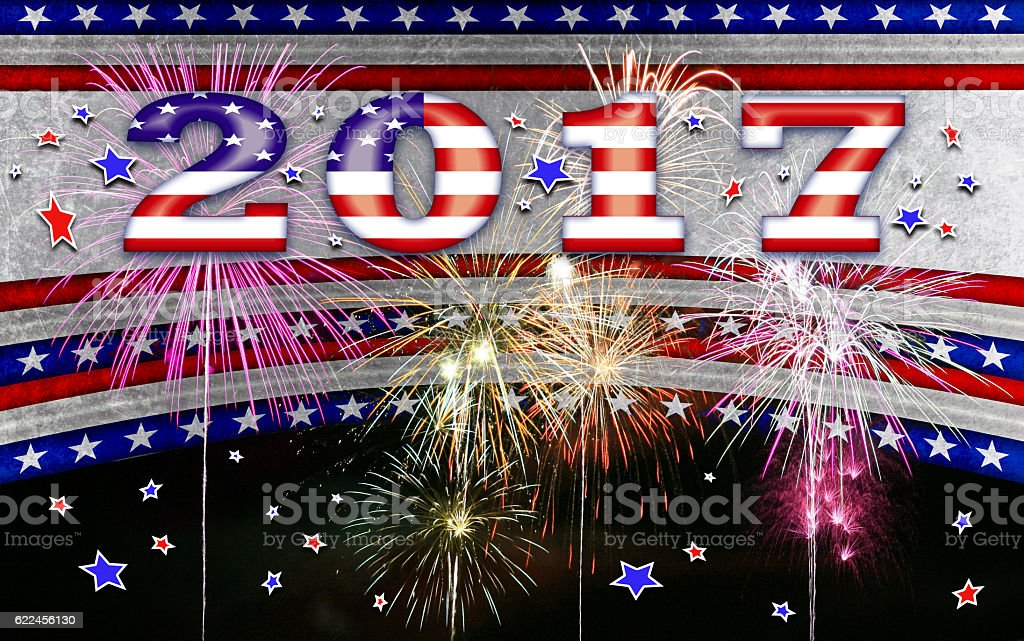 New Year 2017 Sign as USA Flag on patriotic background. vector art illustration