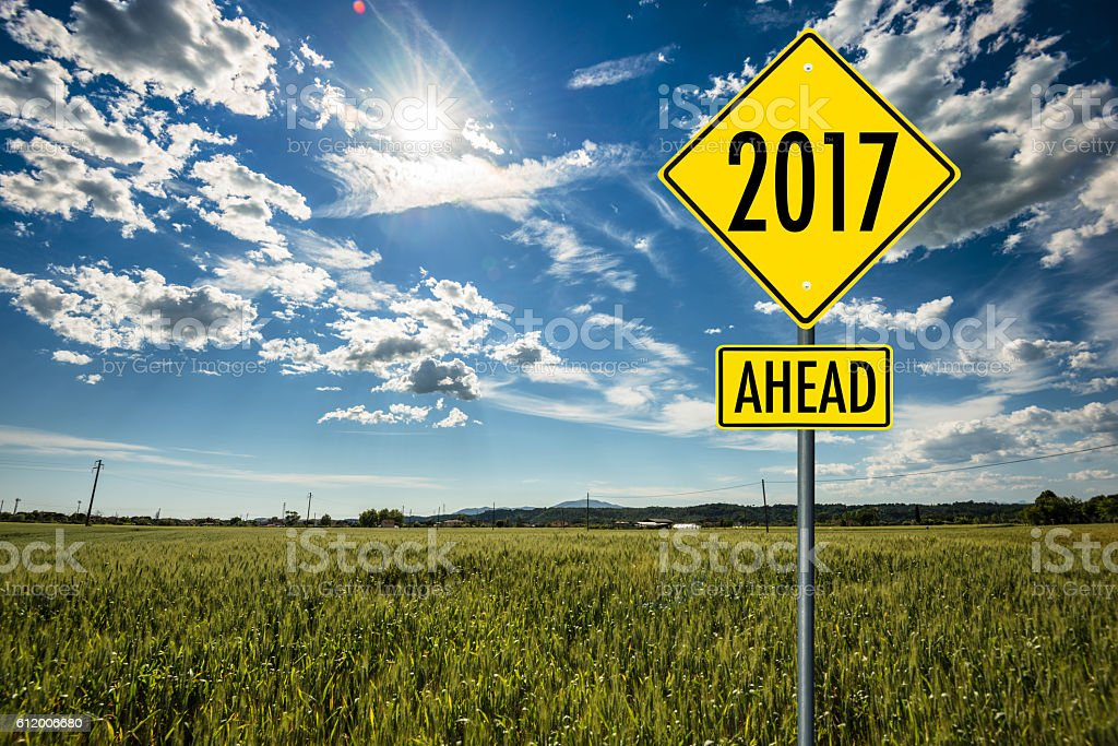 New year 2017 street sign stock photo